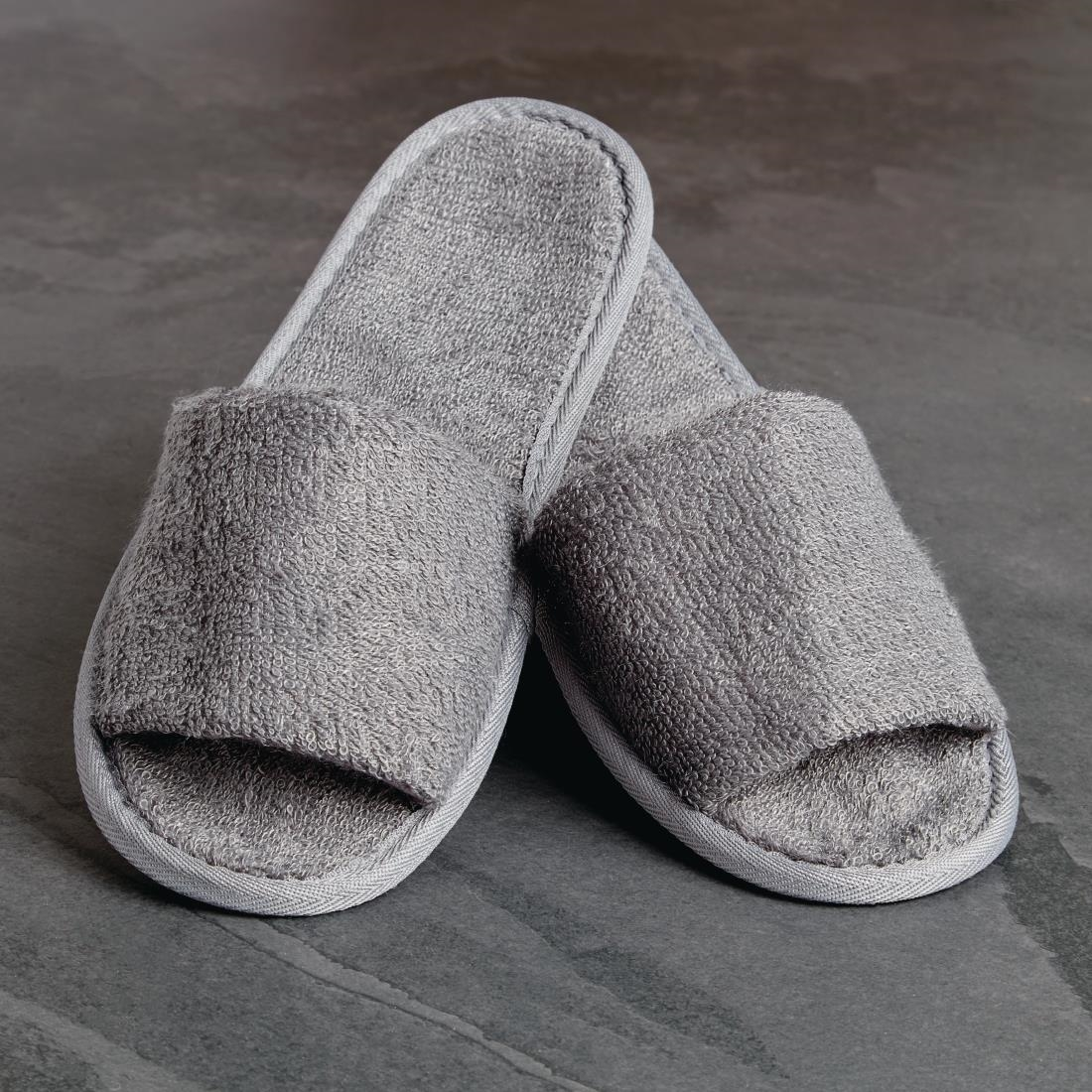Image of Luxury Curzon Open Toe Slippers Grey