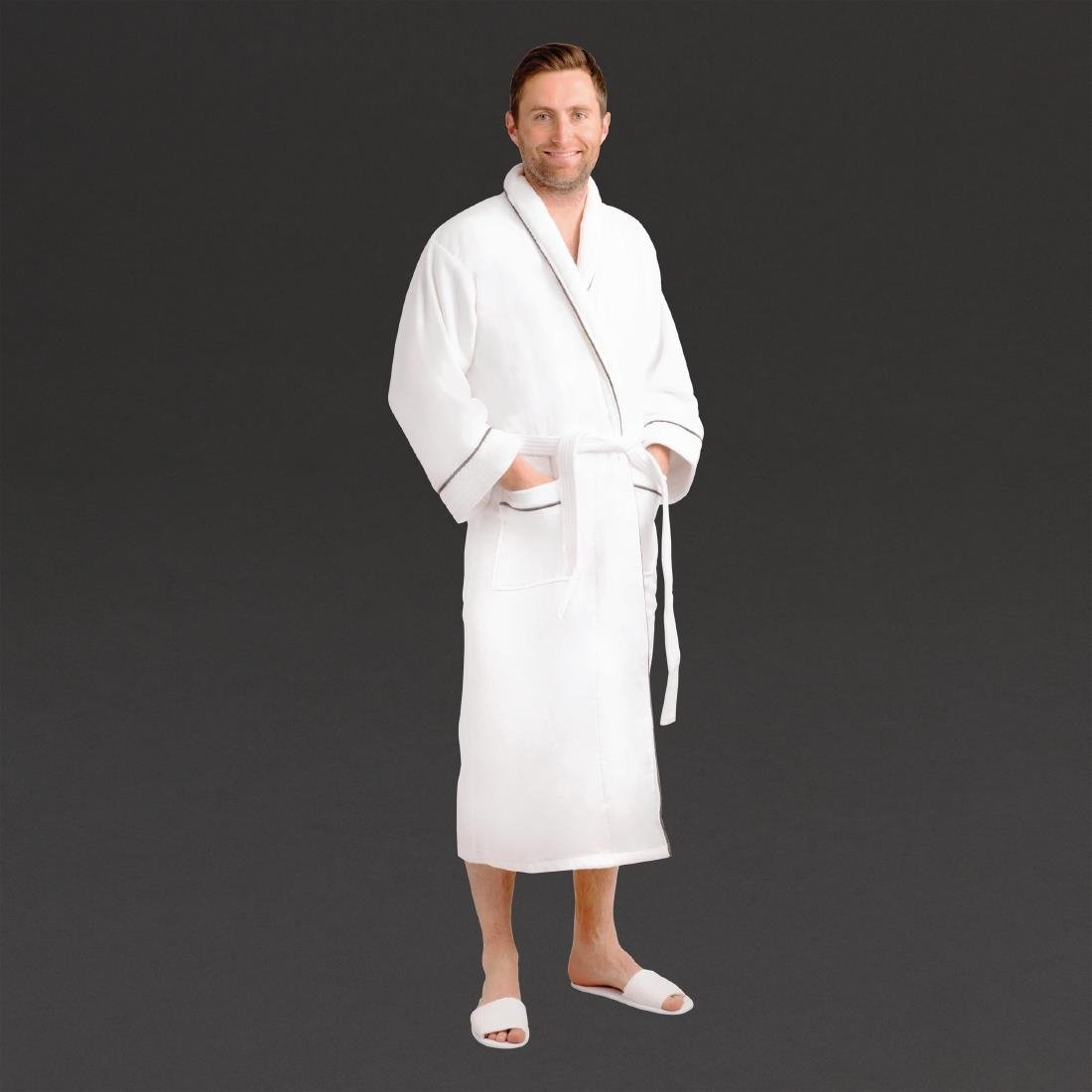 Click to view product details and reviews for Mitre Heritage Ambassador Large Bathrobe With Slate Piping.