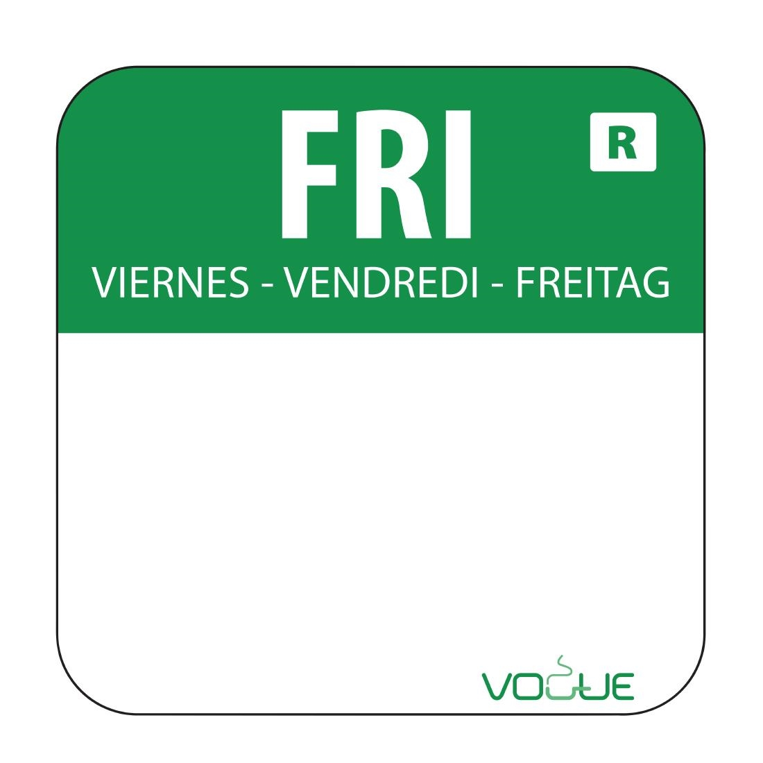 Vogue Removable Colour Coded Food Labels Friday