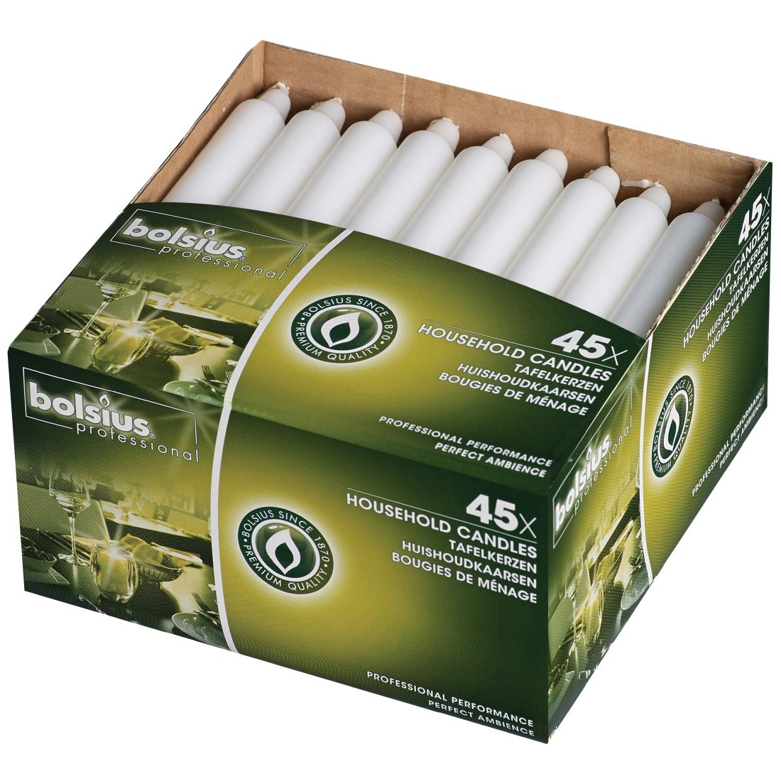 Image of Bolsius 7 Bistro Candles White (Pack of 45) Pack of 45