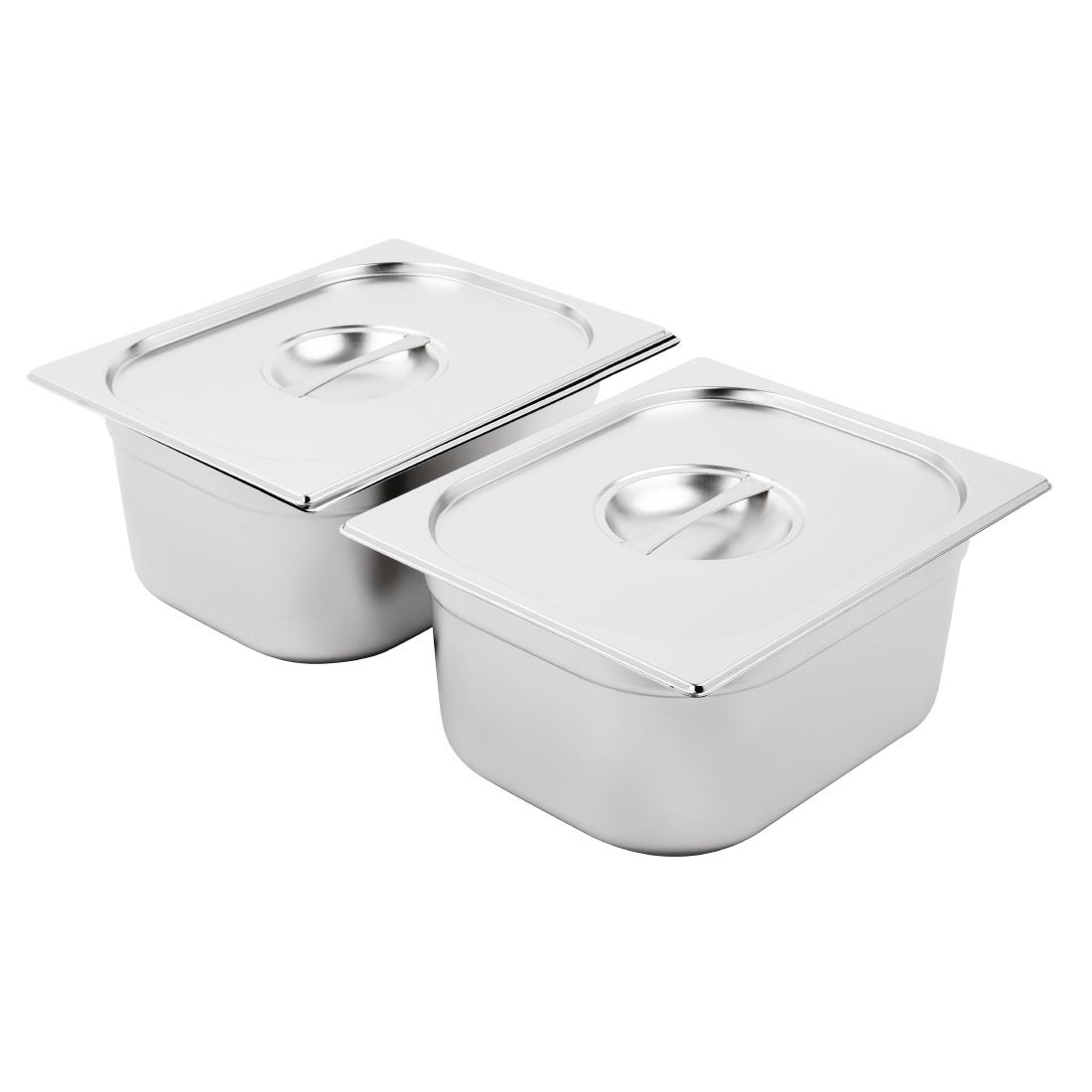 2 x 1//2 GN 150 mm � Set of Gastronorm Pans with Lids in Stainless Steel