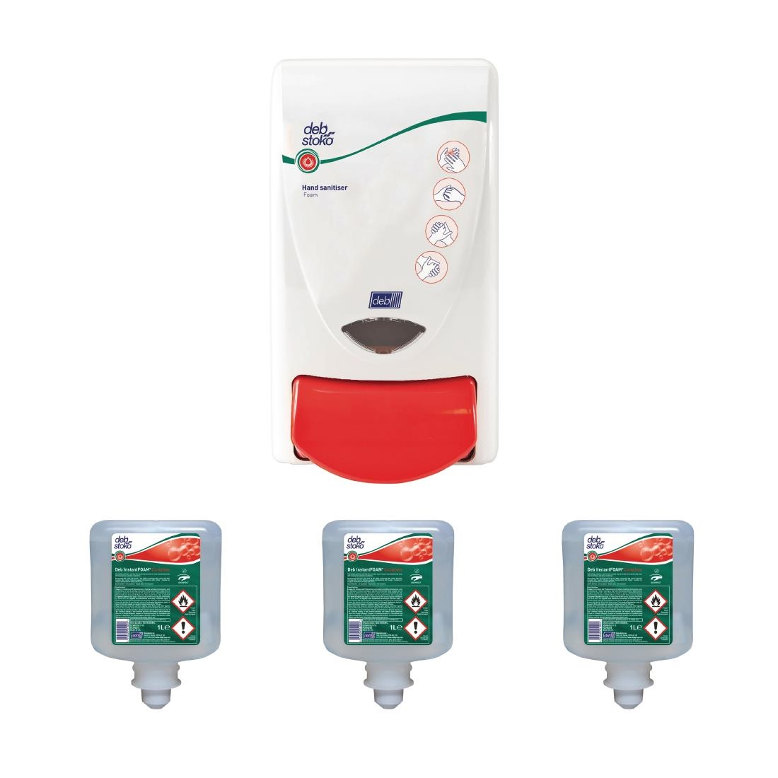 Image of Deb Hand Sanitiser Dispenser and 3 Unperfumed Foam Hand Sanitisers 1Ltr Pack of 3