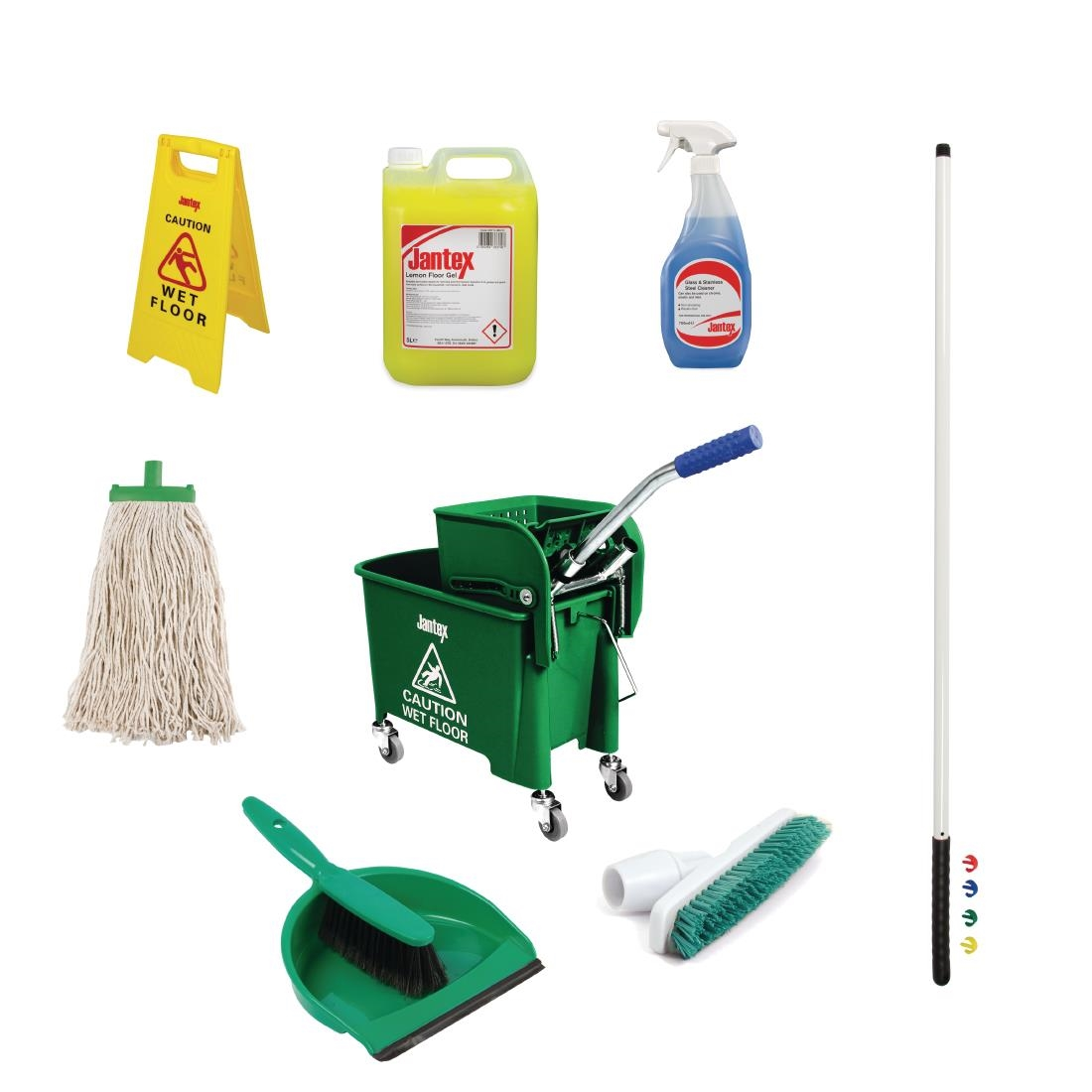 Jantex Colour Coded Cleaning Kit Green