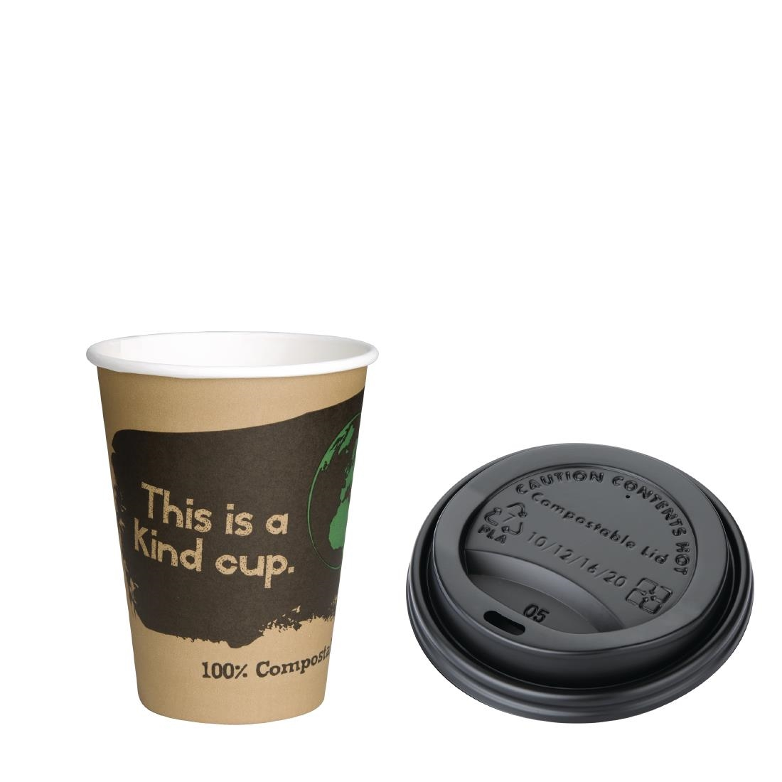 Image of Fiesta Green 12oz Compostable Hot Cups and Lids Bundle (Pack of 1000) Pack of 1000