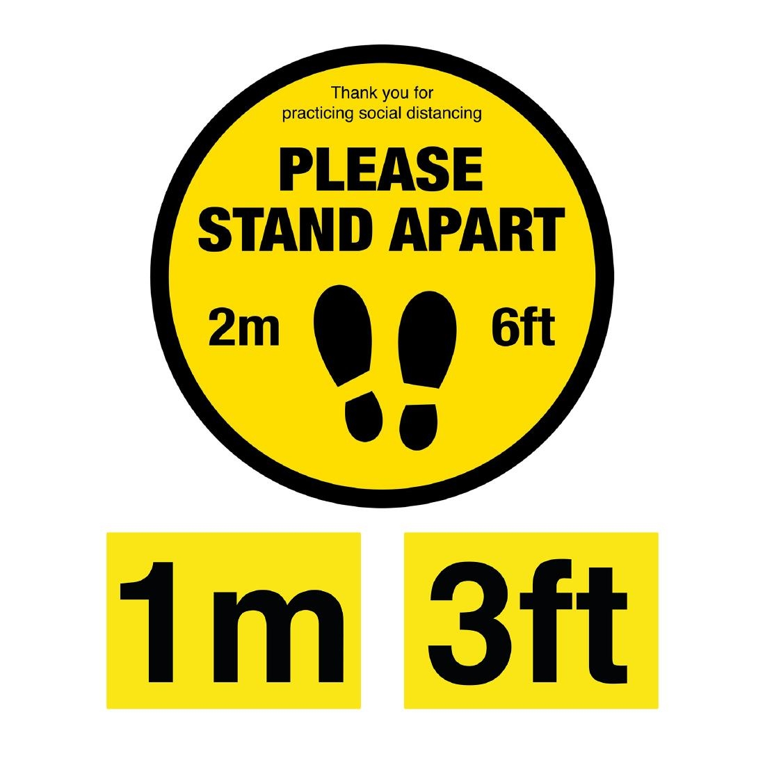 Click to view product details and reviews for Please Stand Apart Social Distancing 1m And 2m Floor Graphic Bundle 200mm.