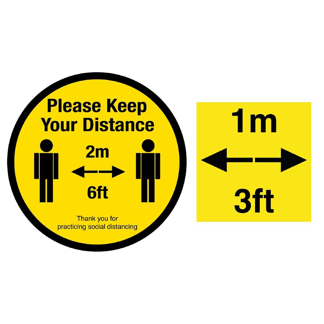 Please Keep Your Distance Social Distancing 1m And 2m Floor Graphic Bundle 200mm