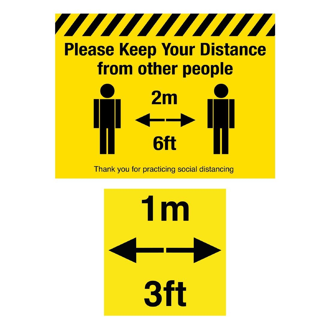Click to view product details and reviews for Please Keep Your Distance Social Distancing 1m And 2m Floor Graphic Bundle 400 X 300mm.