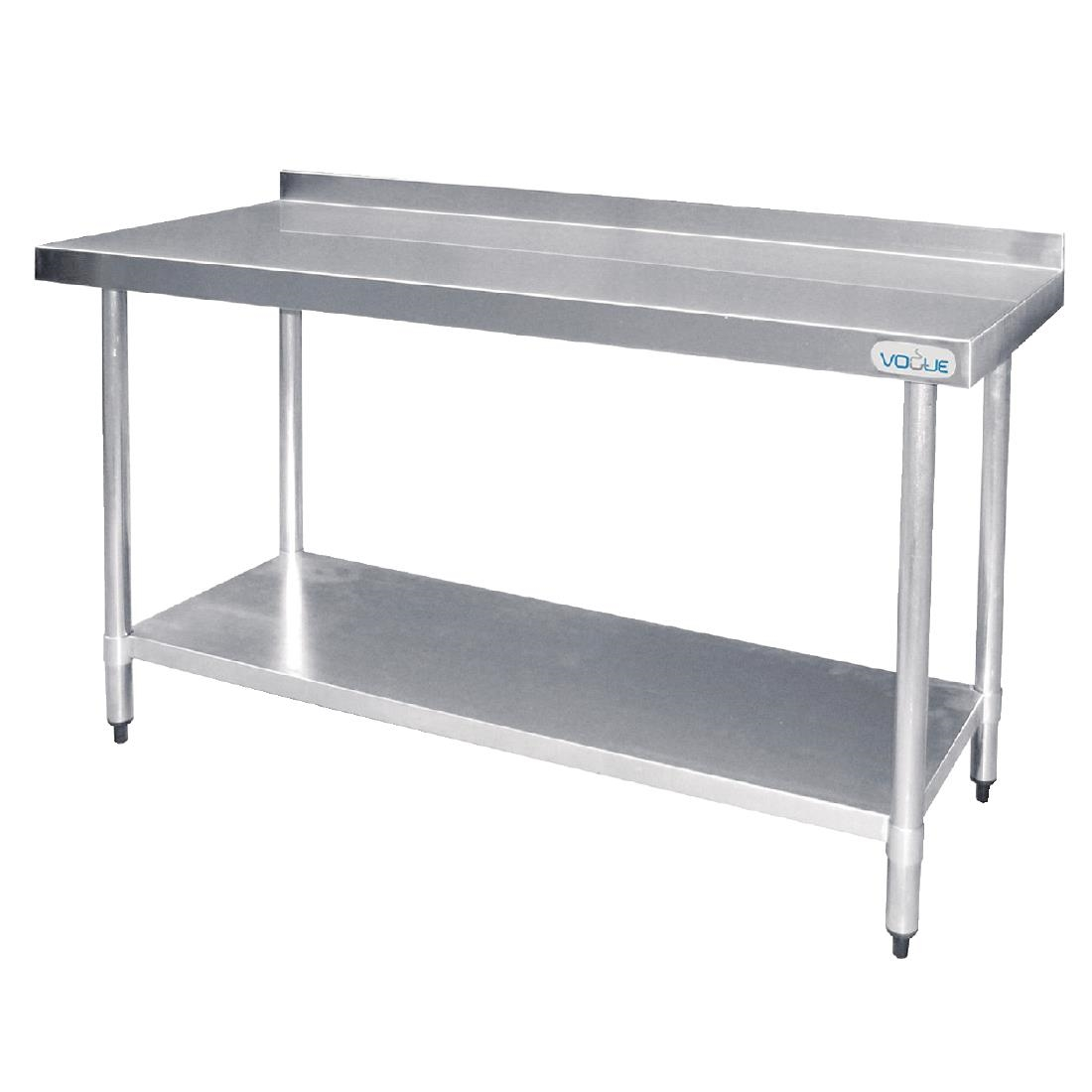 Vogue Stainless Steel Table With Upstand Dmm PT Buy - Stainless steel prep table with shelves