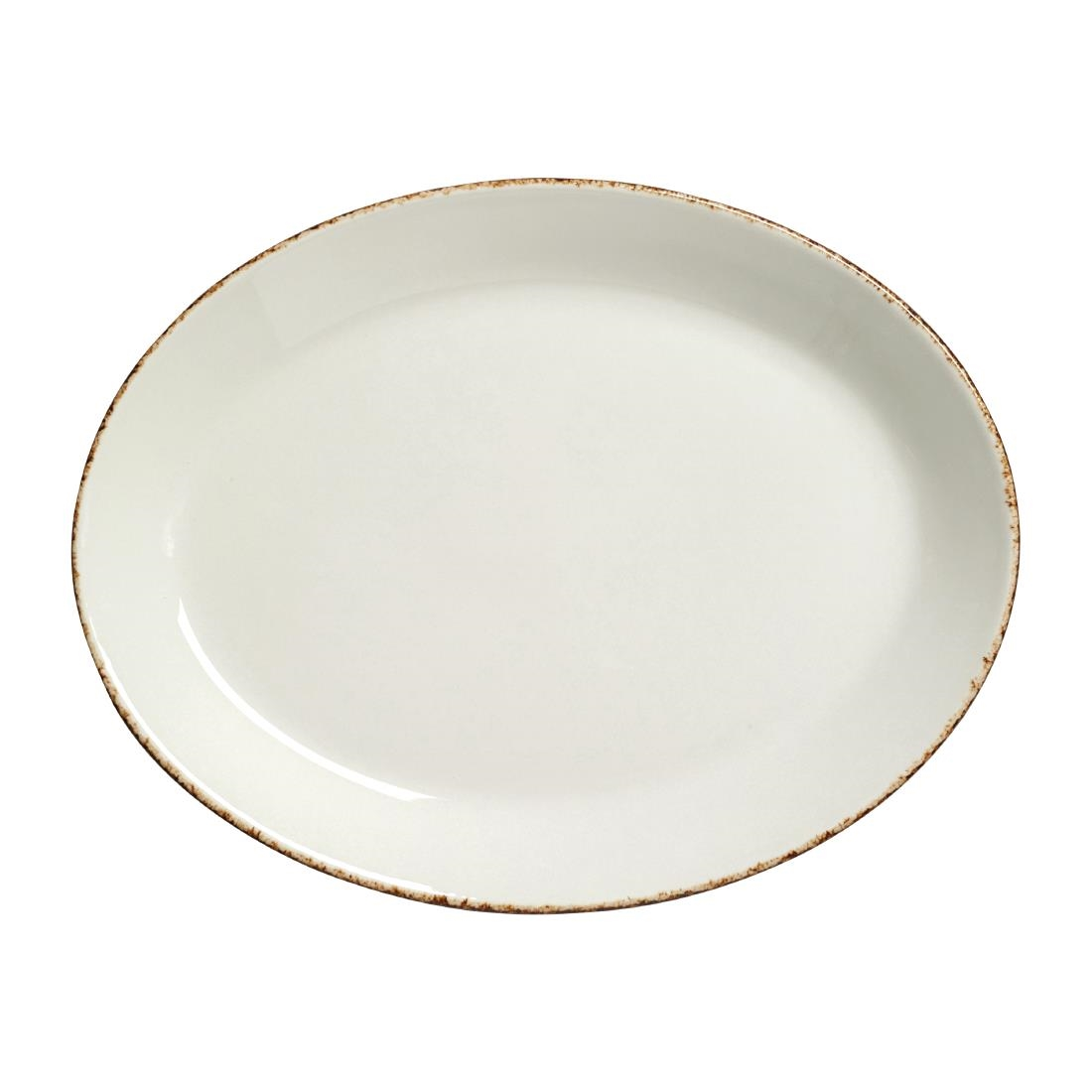 Steelite Brown Dapple Oval Coupe Plates 202mm Pack of 24