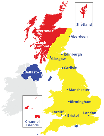 Delivery map of the UK